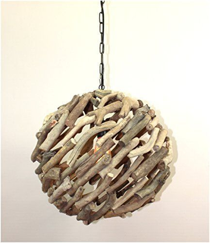 BIG Driftwood Ball Pendant Chandelier Ceiling Mounted Light Fixture Nautical Rustic Lodge Feel