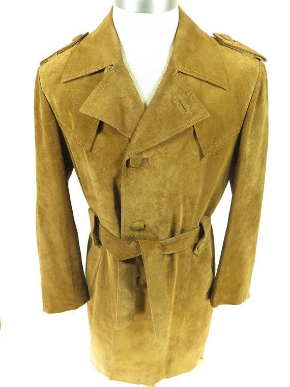 Vtg 70s William Berry Suede Leather Trench Coat Mens 42