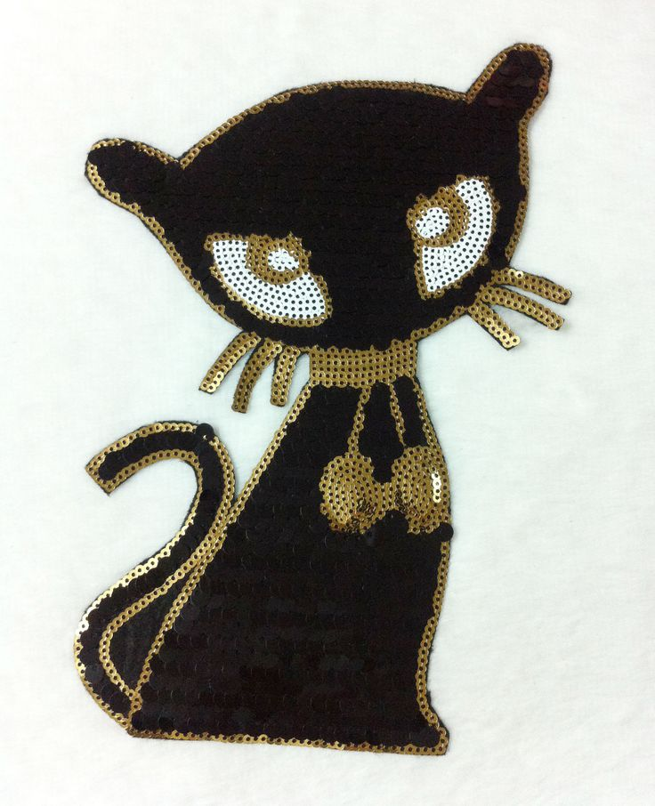 cartoon cat sequined parches termoadhesivos stick embroidery applique patches for clothing ,ironing patches stickers for clothes