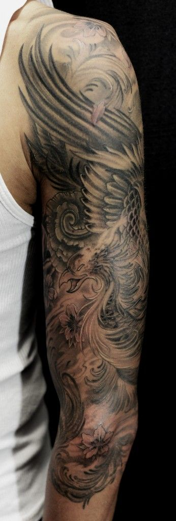 Full sleeve black and grey Phoenix tattoo