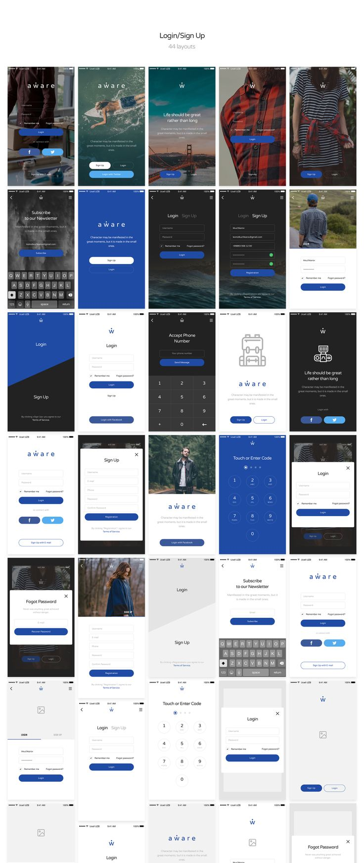 This awesome UI/UX Kit features a huge mobile UI Kit in both light