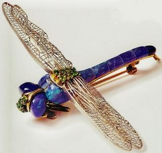 Dragonfly brooch with black opal body, Louis Comfort Tiffany