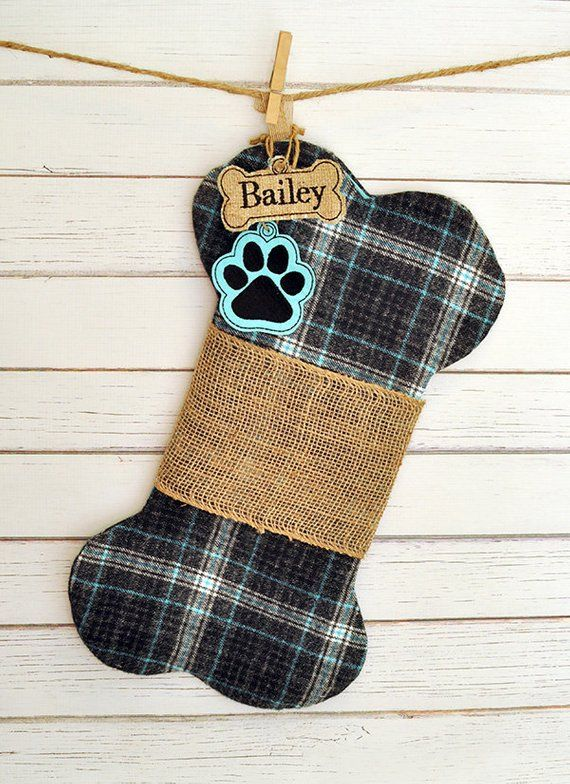 puppy dog christmas stocking bone stocking flannel plaid aqua