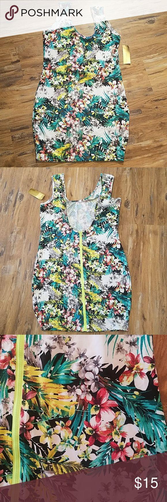 "NWT Nicki Minaj Summer Blossom Tank Dress, XL New Nicki Minaj Tank Dress, size XL. Polyester spandex blend. Scoop neck front with open scoop back and zipper. Lying flat measurements are Chest, 18"" Waist, 17"" Length from shoulder, 35.5"" Nicki Minaj Dresses Mini"