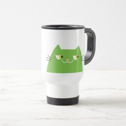 Cat Green Bright Funny Good Person Cartoon Cool Travel Mug - good gifts special unique customize style
