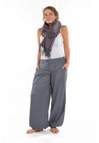 Pantalon bouffant mixte Kerman gris bleu - FZ1659 - 100% pur coton épais du Népal. Idéal pour la mi-saison et l'hiver.