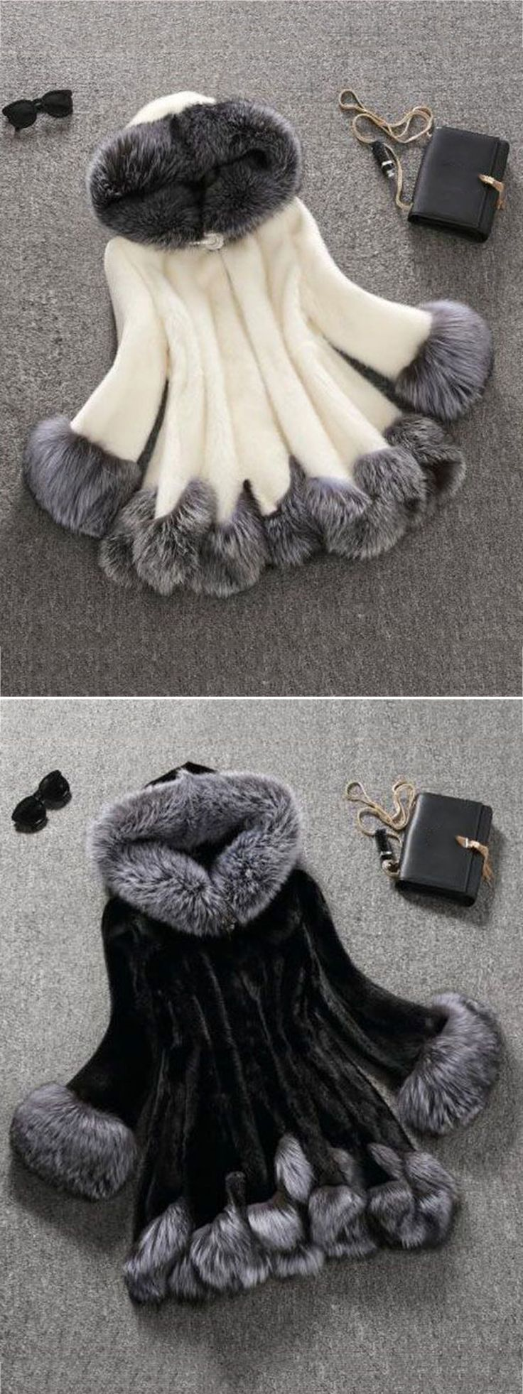 Fashion Hooded Artificial Fur Coats For Women #fashion #style #winter #coat #outwear