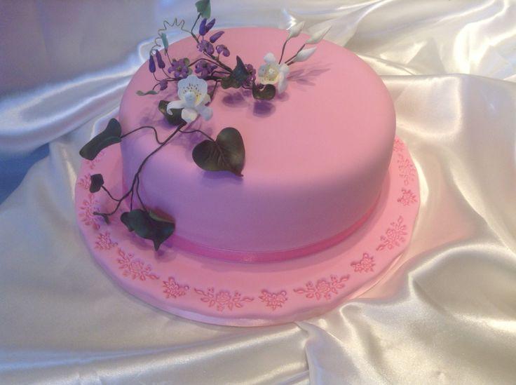 Chocolate mocha birthday cake with sugarcraft flowers