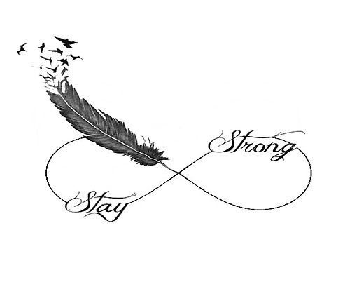 infinity symbol ending to a feather-stay stong