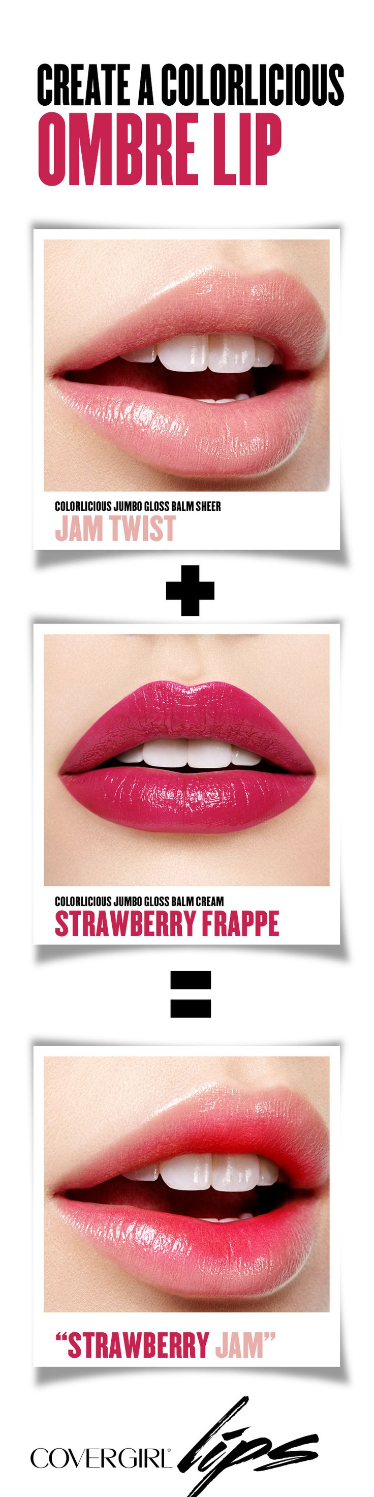 Makeup tip: First, apply COVERGIRL Jumbo Gloss Balm Sheer in Jam Twist for a hint of tint. Next, dab Jumbo Gloss Balm Cream in Strawberry Frappe on to the inner parts of your lips to create this awesome DIY ombre lip look. Try this look for your next holiday party!