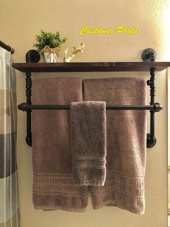 Double Offset 2 Tier Industrial Style Towel Rack With Shelf Retro Towel Rack Industrial Des Rustic Towel Rack Industrial Towel Rack Towel Rack Bathroom Diy