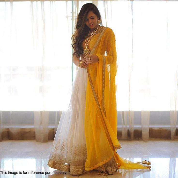 Yellow & White Solid Net Lehenga Choli @Looksugd.in #Yellow #White #Lehenga