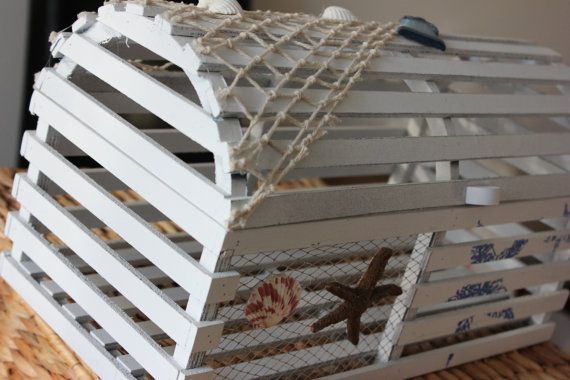 LOBSTER TRAP CARDBOX Card Box Holder White Wood Centerpiece Decoration Cage Beach Wedding Nautical Starfish Seashells Destination