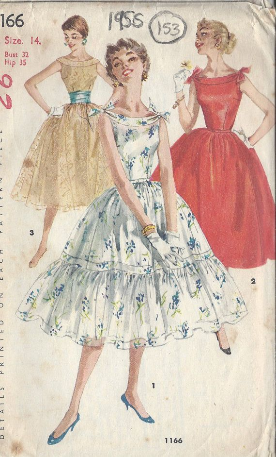 "1955 Vintage Sewing Pattern DRESS B32"" (153) Simplicity 1166"