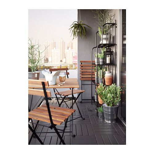 IKEA TARNO Acacia Foldable Black, Gray-Brown Stained Steel Chair, outdoor