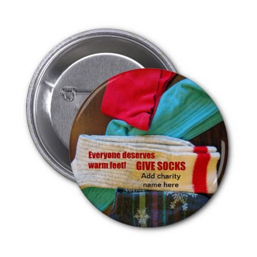 Give Socks to Charity Button #charity