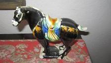 Antique Chinese Black Tang Dynasty War Horse Majolica Sancai Glaze