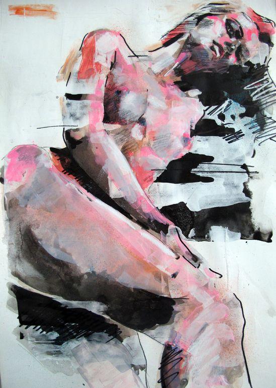 "Saatchi Online Artist: thomas donaldson; Ink 2013 Drawing ""11-12-13 figure study"""