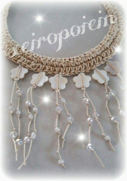 Κολιέ χειροποίητο πλεκτό με βελονάκι λινάρι κ κρεμαστά φίλντισι με κρυσταλλάκια  Chroset necklace