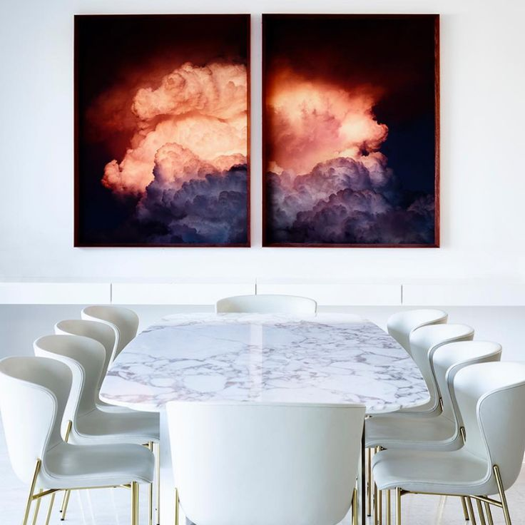 Thank you for sharing this captivatingly minimalist interior @simonehaag ! Beautiful styling as always. La Pipe chairs by @friendsfounders from @fredinternational & of course, capturing the most awe-inspiring of nebulous phenomena is @trevormein 's famous 'Cloud Series' artwork from @otomys // Photo by @mroper