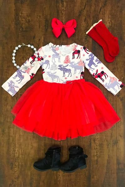 Winter Moose Red Tutu Dress