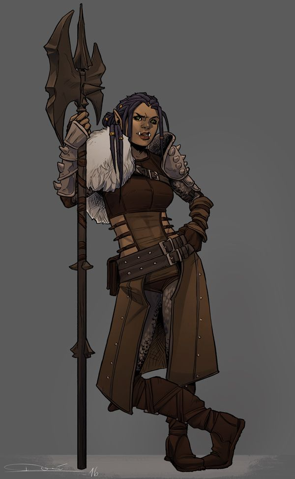 I commissioned the wonderfully amazing @toherrys to draw my D&D half-orc fighter, Bahgtra – and I'm absolutely floored by the results. She looks like she'd kick your ass and you'd enjoy every minute...