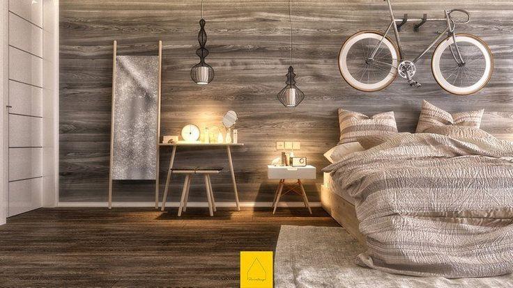 panneau décoratif mural et parquet en bois stratifié grisâtre pour une ambiance apaisante dans la chambre