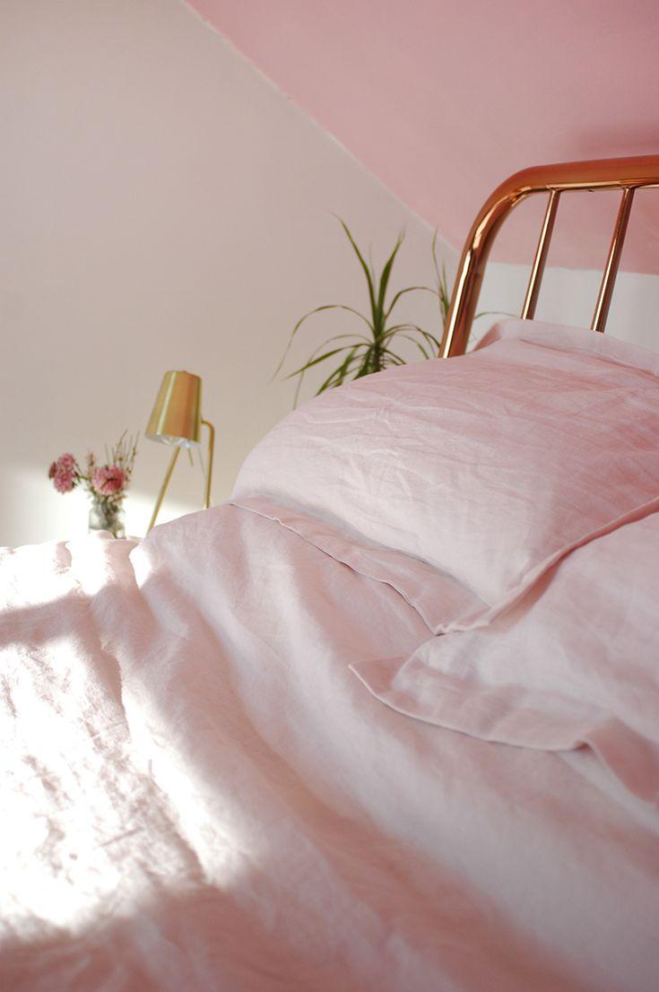 Bedroom makeover - blush pink linen sheets from Soak & Sleep.