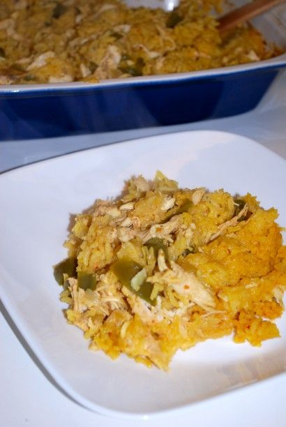 Easy Baked Chicken and Yellow Rice (Vigo brand). You can omit the onions and green peppers if you aren't a fan. A handful of peas added to this dish would also be yummy.