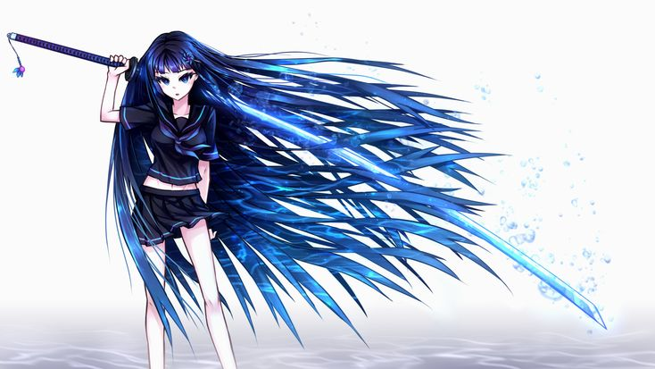 1girl bare_legs belly_peek blue_eyes blue_hair bubble female hair_ornament hairpin highres hime_cut huge_weapon katana long_hair midriff navel nodachi ootachi original samael_(5211) school_uniform serafuku skirt solo standing sword very_long_hair weapon wind