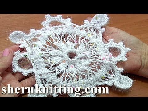 Snowflake Ornament Hairpin Crochet Tutorial 7 Part 2 of 2 Christmas Decoration - YouTube
