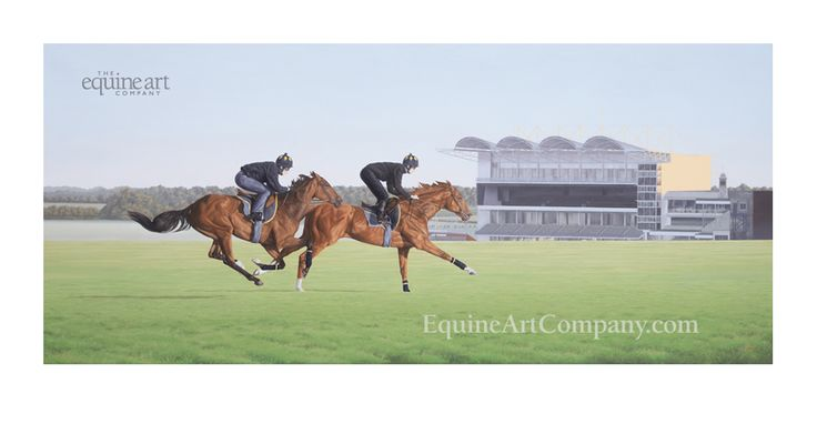 This fine art print of Newmarket Heath depicts a pair of thoroughbreds working on the Summer Canter in the early morning sun. The dramatic sunlight highlights every muscle detail on these majestic animals, as they pass near to the grandstand on the Rowley Mile course.