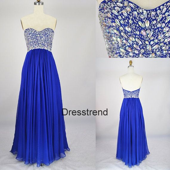 Royal blue A-line prom dress with rhinestone bodice.