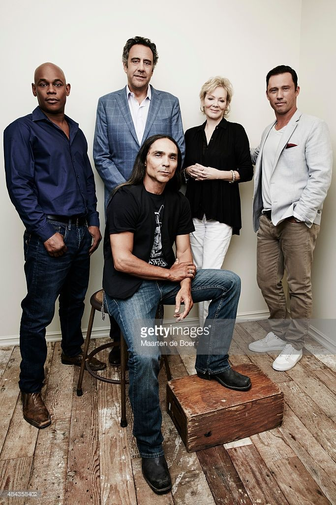 Actors Bokeem Woodbine, Brad Garrett, Jean Smart, Jeffrey Donovan, and (center) Zahn McClarnon from FX's 'Fargo' pose in the Getty Images Portrait Studio powered by Samsung Galaxy at the 2015 Summer TCA's at The Beverly Hilton Hotel on August 7, 2015 in Beverly Hills, California