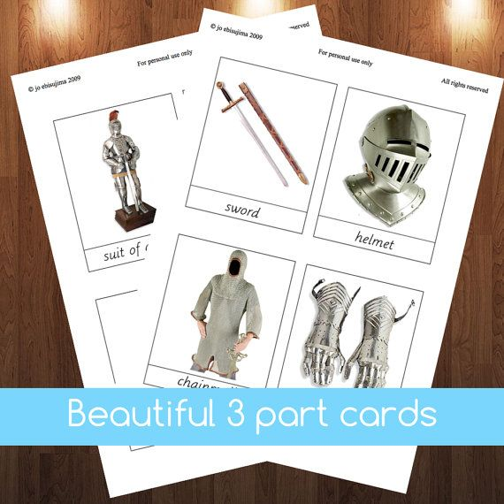 Montessori Knights and castles 3 part cards get yours at: http://www.etsy.com/listing/179148339/montessori-knights-and-castles-3-part #montessori $5