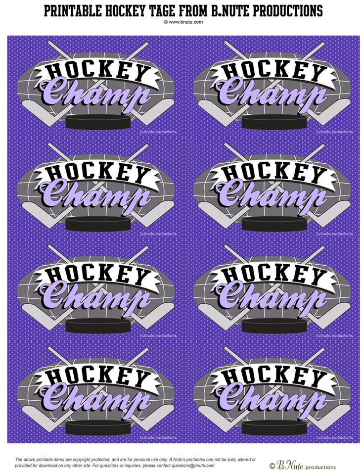 Free Printable Hockey Party Certificates and Tags from B.Nute productions   Here are some free printable Hockey Party Certificates and Tag...