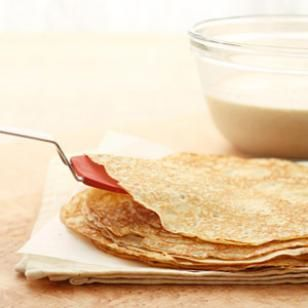 Easy Whole-Grain Crepes:  Note:  magazine recipe says to substitute 1 c. gluten-free baking flour or buckwheat flour for the 1/2 c. whole wheat flour and 1/2 c. all purpose flour  to make this gluten-free.