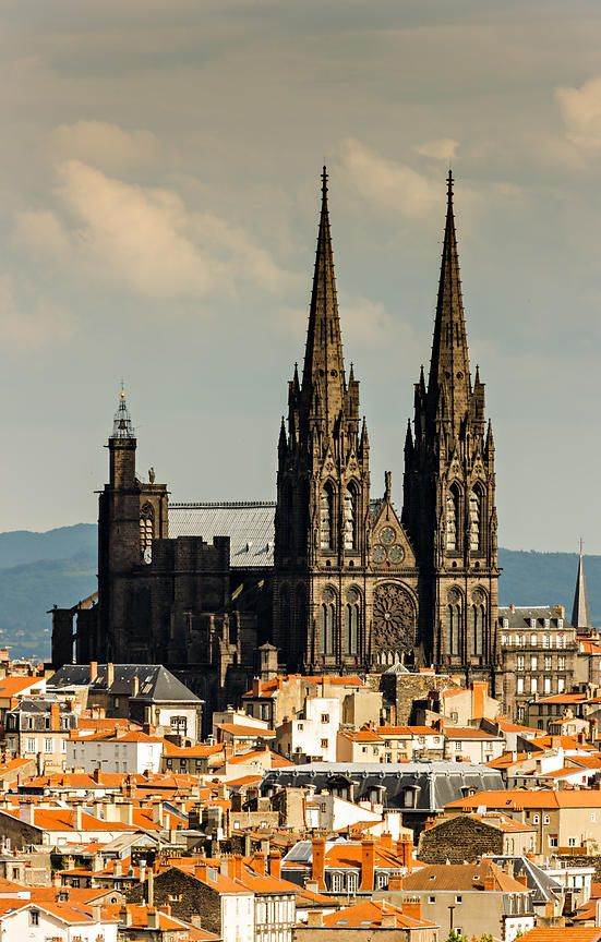 Roofs and cathedral of Clermont Ferrand, France, by Arnaud Frich