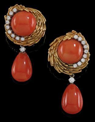 A pair of David Webb coral ear clips