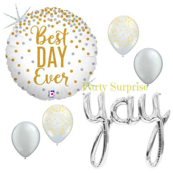 Best Day Ever Yay Balloon Package Metallic Gold by PartySurprise