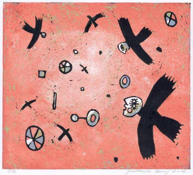 Flying beings, 2012, linocut, 25 cm x 28cm by Jindřich Pevný