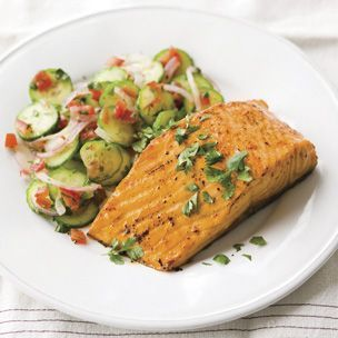 Spice-Roasted Salmon with Cucumber Salad, using Tandoori spice from Williams-Sonoma