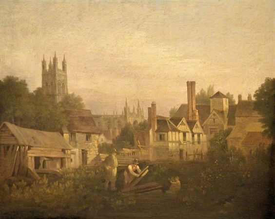 Gloucester from the North West, attributed to William Marlow - date unknown Oil on Panel (Gloucester City Museum & Art Gallery)