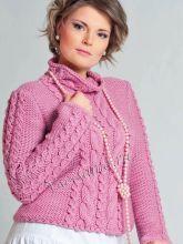 Розовый свитер спицами, фото