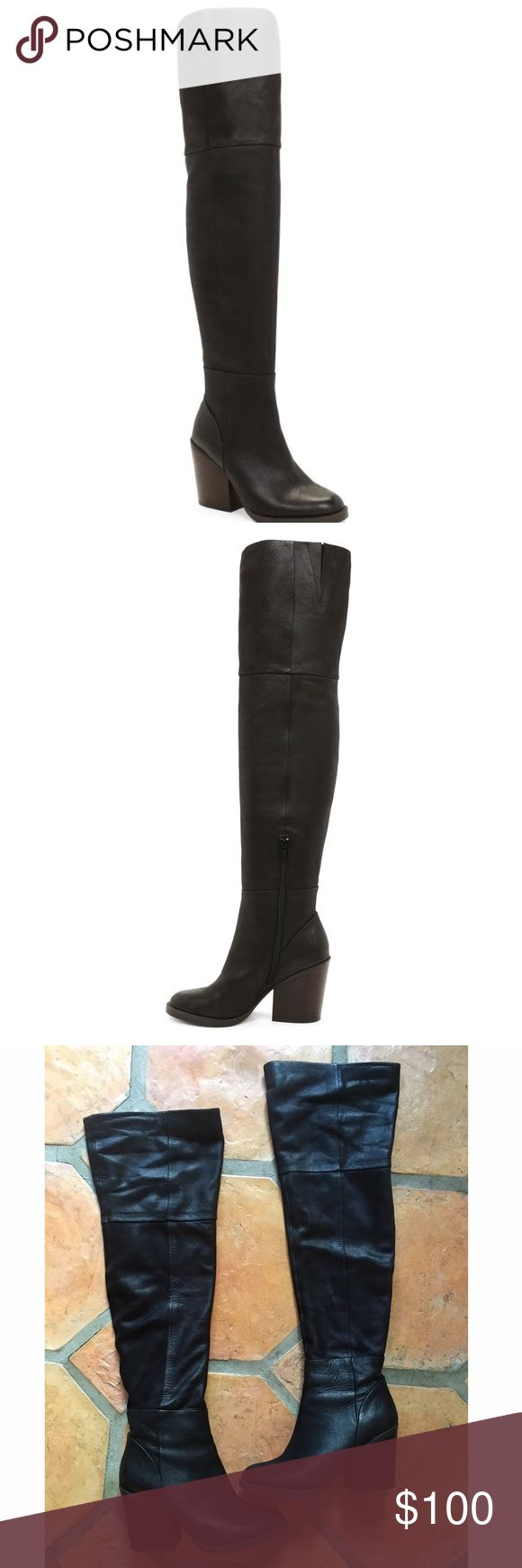 Black Aldo thigh high boots Thigh high boots in size 8.5 These boots are super cute and comfy because of the block heel it has. They are in a used condition but because they are real leather boots the wear on them is minimal. These boots are sold out in this size and are from ALDOs winter 2015 looks. Aldo Shoes Over the Knee Boots