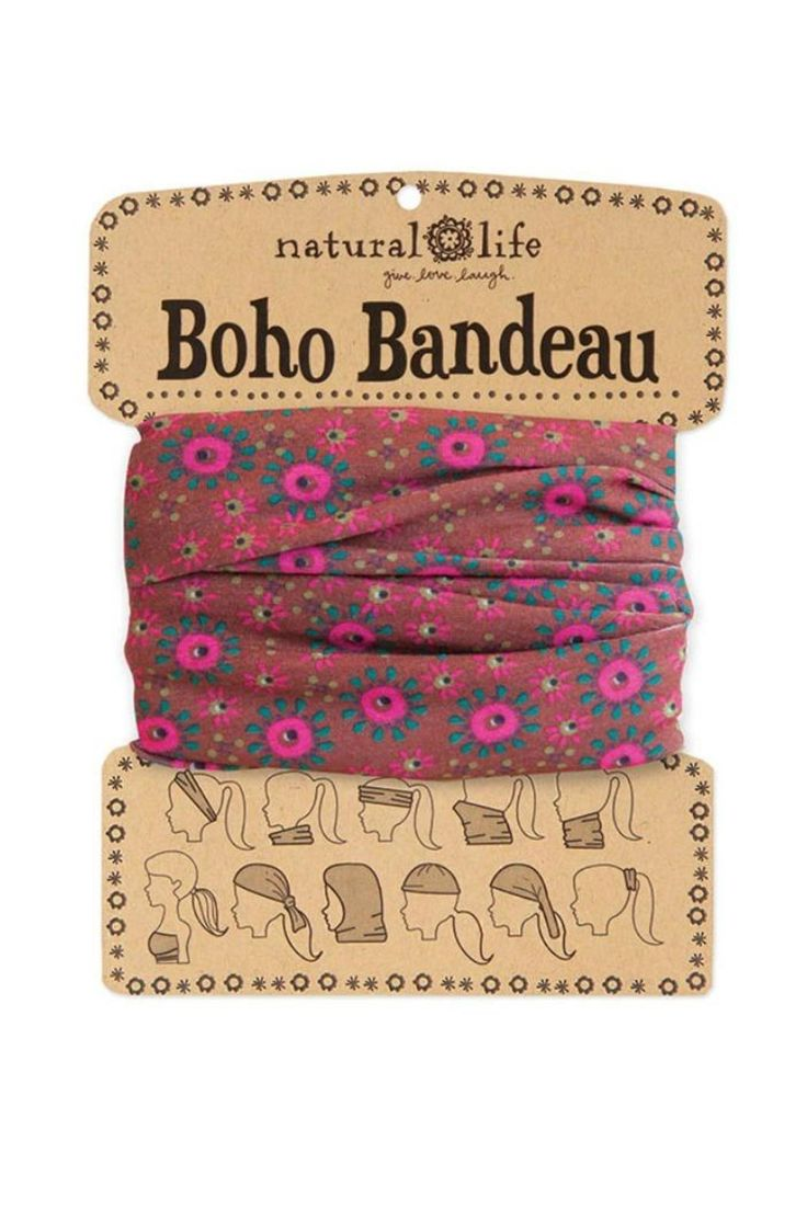 """10 different ways to wear Boho bandeaus! Card comes printed with 10 different ways to wear bandeaus.    Measures:18.5"""" L x 9.5"""" W.   Boho Bandeau Rusty by Natural Life. Accessories - Hair Accessories Michigan"""