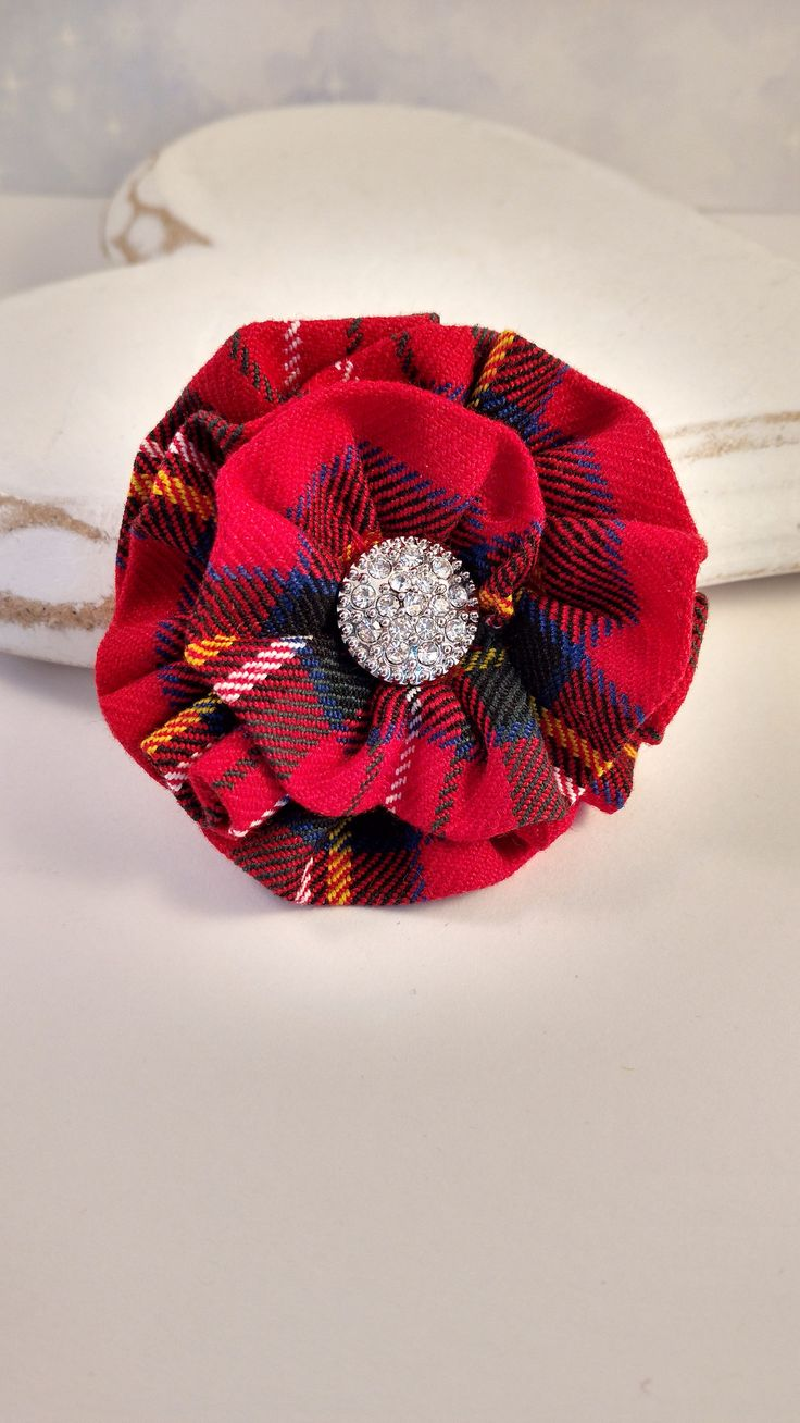 Excited to share the latest addition to my #etsy shop: Scottish Tartan Brooch with diamante, red tartan brooch, Royal Stewart tartan, red plaid corsage, tartan corsage, plaid pin, Scottish gift http://etsy.me/2H6AoM3