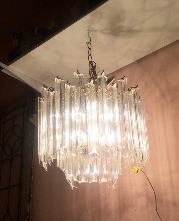 e18c9229ce06 Vintage Lucite and brass Hollywood Regency Chandelier Light Fixture ...