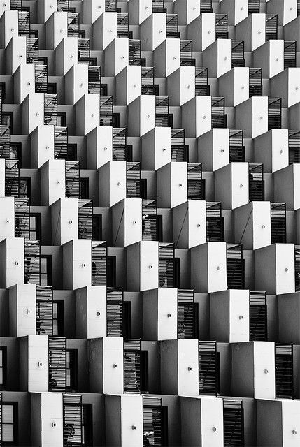 Graphic Repetition - flipped perspective balconies; patterns in architecture