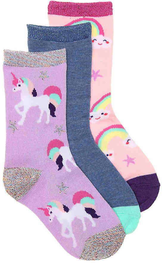 fb745249a60b Olive & Edie Girls Unicorn Infant, Toddler, & Youth Crew Socks - 3 Pack # Edie#amp#Olive